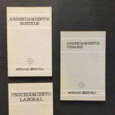 Libros: ARRENDAMIENTOS RÚSTICOS. ARRENDAMIENTOS URBANOS Y PROCEDIMIENTO LABORAL. SEGURA. Lote 193912282
