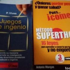 Libros: LOTE DE LIBROS, JUEGO DE INGENIO, Y MÉTODO DE ADELGAZAMIENTO. Lote 234981405
