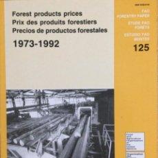 Libros: PRECIOS DE PRODUCTOS FORESTALES. 1973 - 1992. FAO. NUEVO. Lote 244001710
