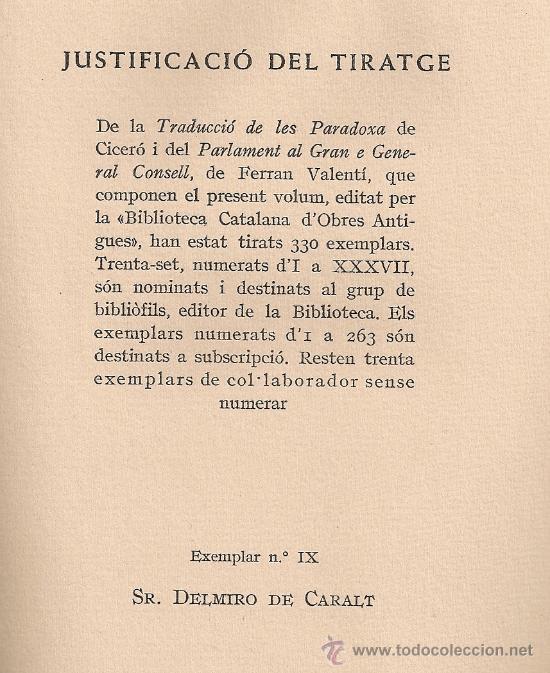 Libros de segunda mano: Traduccio de les Paradoxa de Cicero. Parlament al gran e General Consell / F. Valenti. BCN, 1959. - Foto 2 - 26714800