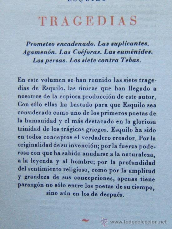 Libros de segunda mano: TRAGEDIAS - ESQUILO Y SUS TRAGEDIAS - EDITORIAL IBERIA - 1969 - NUEVA Y TEMPRANA EDICION - Foto 2 - 31089383