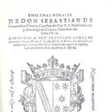 Libros de segunda mano: SEBASTIÁN DE COVARRUBIAS. EMBLEMAS MORALES. EDICIÓN DE CARMEN BRAVO-VILLASANTE. 1978. FACSÍMIL. Lote 33989226