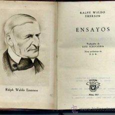 Libros de segunda mano: AGUILAR CRISOL Nº 217 : ENSAYOS DE EMERSON (1947). Lote 35294761