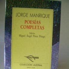 Libros de segunda mano: POESÍAS COMPLETAS. JORGE MANRIQUE. Lote 36533474
