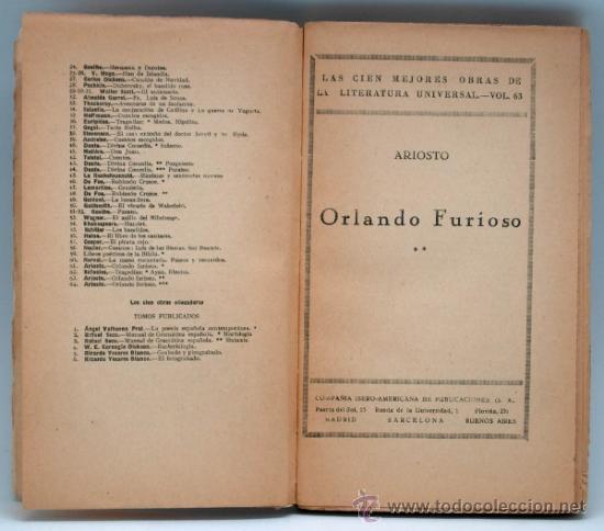 Libros de segunda mano: Orlando Furioso Ariosto Cien Mejores Obras Literatura Española Compañía Iberoamericana Publ nº 63 - Foto 2 - 36553906