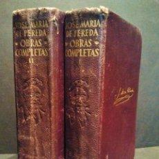 Libros de segunda mano: JOSE MARÍA PEREDA. OBRAS COMPLETAS. 2 TOMOS. EDITORIAL AGUILAR, MADRID 1954.. Lote 37190855