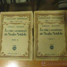 Libros de segunda mano: M69 DOS TOMOS COLECCION UNIVERSAL ESPASA CALPE LA VIDA Y AVENTURAS DE NICOLAS NICKLEBY DIKENS. Lote 38726610