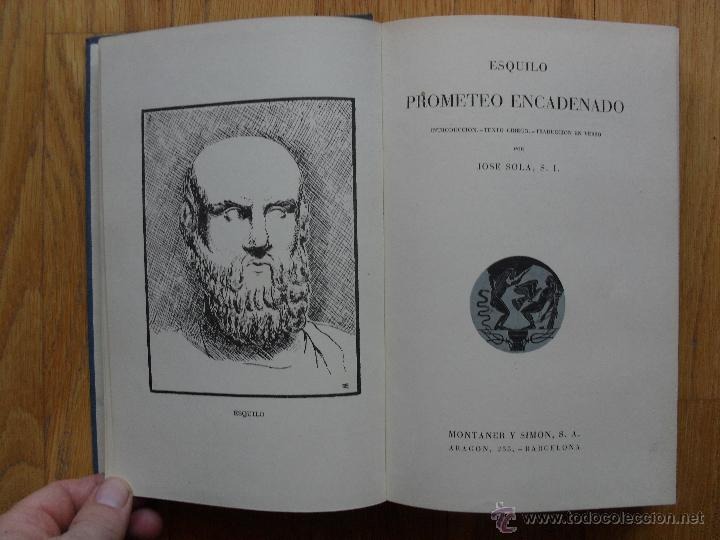 PROMETEO ENCADENADO, ESQUILO, TRADUCCION JOSE SOLA (Libros de Segunda Mano (posteriores a 1936) - Literatura - Narrativa - Clásicos)