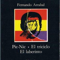 Libros de segunda mano: PIC-NIC - EL TRICICLO - EL LABERINTO. FERNANDO ARRABAL.. Lote 39842795