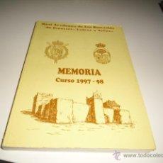 Libros de segunda mano: M-7 LIBRO CURSO 1997-98 MEMORIA REAL ACADEMIA DE SAN ROMUALDO DE CIENCIAS LETRAS Y ARTES. Lote 40673305