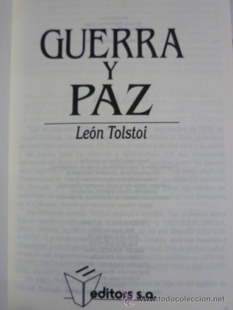 Libros de segunda mano: Guerra y Paz. - TOLSTOI, León: editors S.A - primera edición 1998 - ilustrado - Foto 3 - 220659916