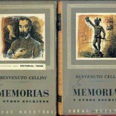 Libros de segunda mano: BENVENUTO CELLINI : MEMORIAS Y OTROS ESCRITOS - DOS TOMOS (IBERIA, 1959). Lote 43976850