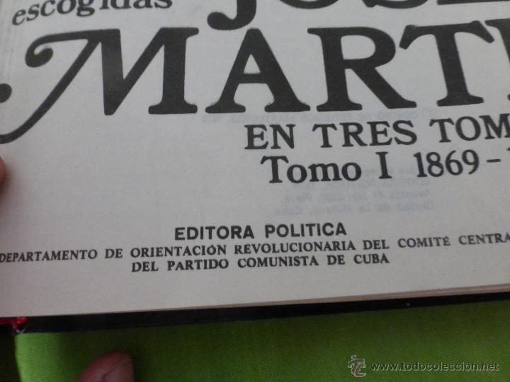 Libros de segunda mano: José Martí Obras escogidas . 3 tomos - CENTRO DE ESTUDIOS MARTIANOS - LA HABANA (CUBA) 1978 - Foto 9 - 45555650