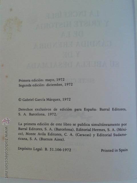 Libros de segunda mano: Gabriel Garcia Márquez - La Increible Y Triste Historia De La Candida Erendira 7 Cuentos BARRAL - Foto 4 - 45687331