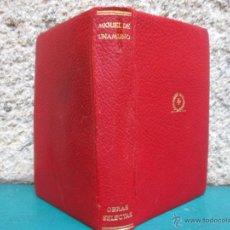 Libros de segunda mano: UNAMUNO OBRAS SELECTA - EDI PLENITUD 1946 EJEMPLAR NUMERADO 1198/3000 + INFO. Lote 50448653
