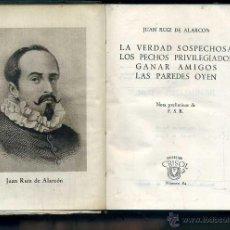 Libros de segunda mano: AGUILAR CRISOL Nº 84 - JUAN RUIZ DE ALARCON : LA VERDAD SOSPECHOSA (1945) 1ª EDICIÓN. Lote 50608869