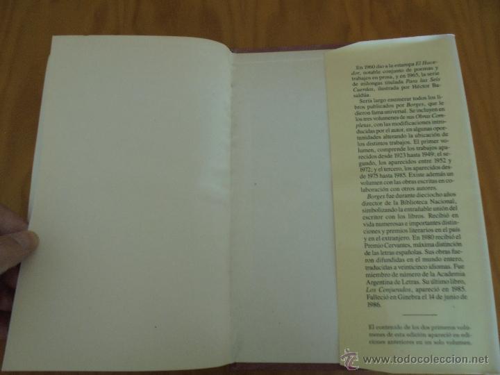 Libros de segunda mano: JORGE LUIS BORGES. OBRAS COMPLETAS. TOMOS I, II Y IV. ED. EMECE. VER FOTOGRAFÍAS. - Foto 39 - 57317467