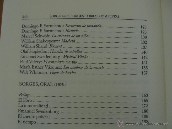 Libros de segunda mano: JORGE LUIS BORGES. OBRAS COMPLETAS. TOMOS I, II Y IV. ED. EMECE. VER FOTOGRAFÍAS. - Foto 88 - 57317467