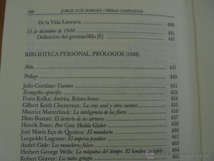 Libros de segunda mano: JORGE LUIS BORGES. OBRAS COMPLETAS. TOMOS I, II Y IV. ED. EMECE. VER FOTOGRAFÍAS. - Foto 104 - 57317467