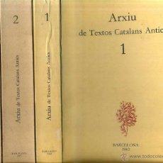 Libros de segunda mano: ARXIU DE TEXTOS CATALANS ANTICS VOLS. 1, 2 Y 3 (1982 A 1984). Lote 51368335
