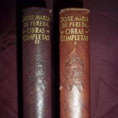 Libros de segunda mano: JOSE MARIA DE PEREDA. OBRAS COMPLETAS.2 TOMOS. EDITORIAL AGUILAR PLENA PIEL.. Lote 53359308