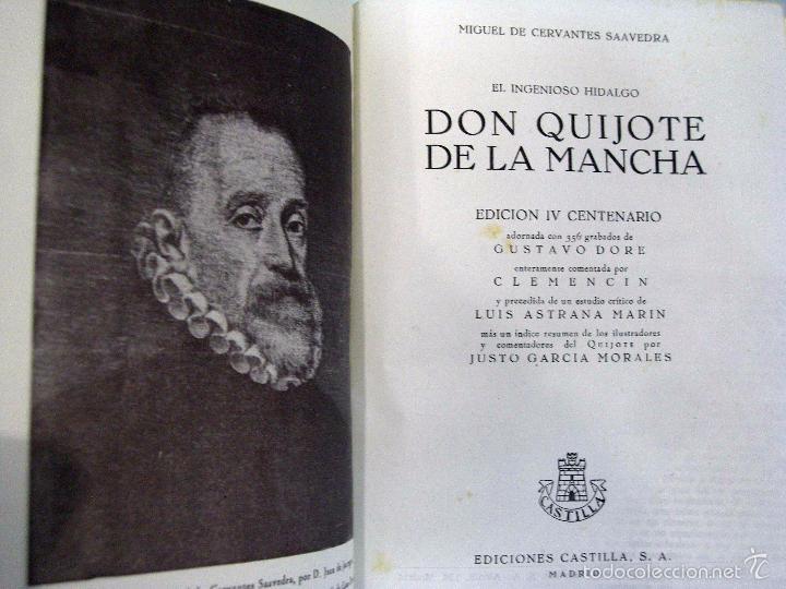 Libros de segunda mano: MIGUEL DE CERVANTES - DON QUIJOTE DE LA MANCHA. EDICIÓN IV CENTENARIO. EDICIONES CASTILLA. - Foto 2 - 56964952