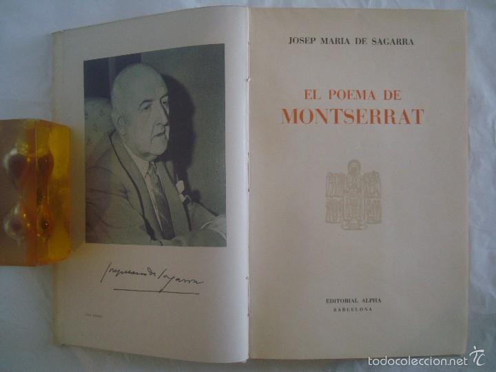 Libros de segunda mano: JOSEP MARIA DE SAGARRA. EL POEMA DE MONTSERRAT. EDITORIAL ALPHA. 1956. - Foto 2 - 60665963