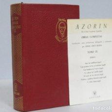 Libros de segunda mano: 1963.- OBRAS COMPLETAS. AZORIN. AGUILAR. JOYA. TOMO IX. CON MARCAPAGINAS. Lote 160225704