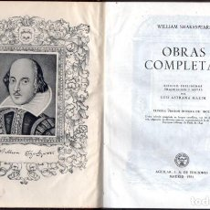 Libros de segunda mano: SHAKESPEARE : OBRAS COMPLETAS (AGUILAR ETERNAS, 1951) . Lote 64292827