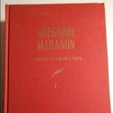 Libros de segunda mano: GREGORIO MARAÑON. OBRAS COMPLETAS. TOMO I. ESPASA CALPE, 1966. TAPA DURA EN TELA. PROLOGOS. 2210 GRA. Lote 69506753