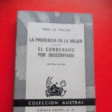 Libros de segunda mano: LA PRUDENCIA EN LA MUJER. EL CONDENADO POR DESCONFIADO. TIRSO DE MOLINA. AUSTRAL Nº369 7ªED.. E.C.. Lote 74167411