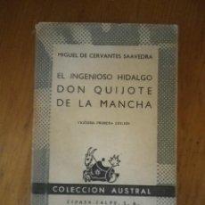 Libros de segunda mano: DON QUIJOTE DE LA MANCHA EDITORIAL ESPASA CALPE 1960 . Lote 75737883