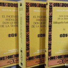 Libros de segunda mano: DON QUIJOTE DE LA MANCHA 3 TOMOS. CERVANTES.BIBLIOGRAFIA UNIVERSAL.PREPARADA POR LUIS ANDRES MURILLO. Lote 75785959