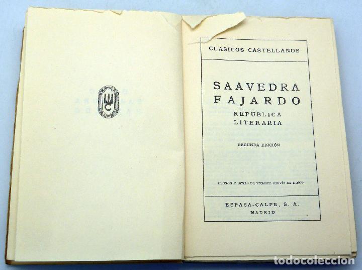 Libros de segunda mano: República Literaria Saavedra Fajardo Clásicos Castellanos nº 46 Espasa Calpe 1957 Vicente García - Foto 2 - 83822308