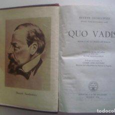 Libros de segunda mano: LIBRERIA GHOTICA. LUJOSA EDICION AGUILAR. HENRYK SIENKIEWICZ. QUO VADIS? 1954. PAPEL BIBLIA. . Lote 93382590