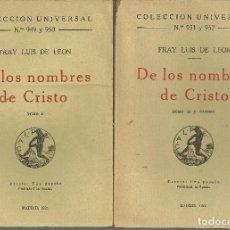 Libros de segunda mano: DE LOS NOMBRES DE CRISTO, 2 VOL., FRAY LUIS DE LEÓN. Lote 113212403