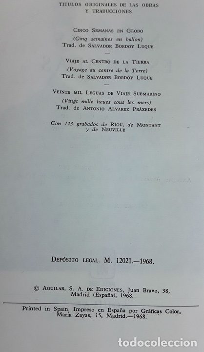 Libros de segunda mano: NOVELAS ESCOGIDAS. JULES VERNE. AGUILAR. 1968. - Foto 3 - 115169003
