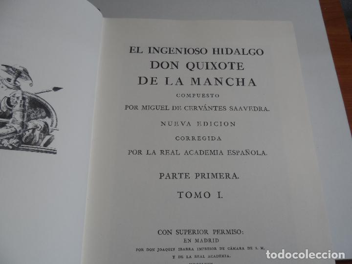 Libros de segunda mano: EL INGENIOSO HIDALGO DON QUIXOTE DE LA MANCHA EDICION FACSIMILAR 4 TOMOS - Foto 2 - 116210891