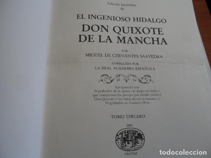 Libros de segunda mano: EL INGENIOSO HIDALGO DON QUIXOTE DE LA MANCHA EDICION FACSIMILAR 4 TOMOS - Foto 7 - 116210891