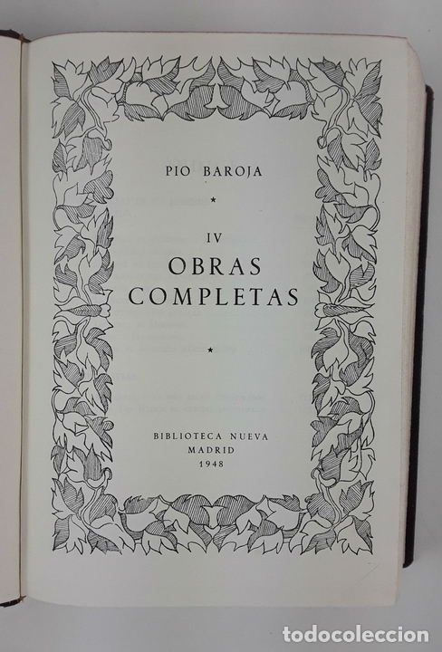 Libros de segunda mano: OBRAS COMPLETAS. PIO BAROJA. 5 TOMOS. BIBLIOTECA NUEVA. MADRID. 1946-1948. - Foto 8 - 122880647
