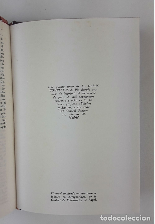 Libros de segunda mano: OBRAS COMPLETAS. PIO BAROJA. 5 TOMOS. BIBLIOTECA NUEVA. MADRID. 1946-1948. - Foto 10 - 122880647