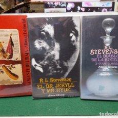 Libros de segunda mano: LOTE ROBERT LOUIS STEVENSON ALIANZA EDITORIAL 3 CLUB SUICIDAS DIABLO BOTELLA DOCTOR JECKYLL. Lote 125867271