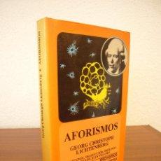 Libros de segunda mano: GEORG CHRISTOPH LICHTENBERG: AFORISMOS. ED. DE JUAN VILLORO (FCE, 1989) TAPA DURA. RARA EDICIÓN.. Lote 126113279