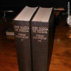 Libros de segunda mano: OBRAS COMPLETAS DE JOSE MARIA DE PEREDA. EDITORIAL AGUILAR. 2 TOMOS, OBRA COMPLETA.. Lote 127125995