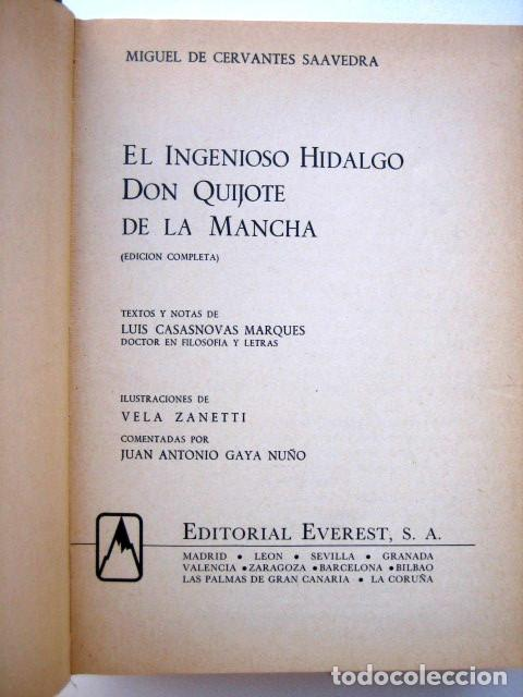 Libros de segunda mano: El ingenioso hidalgo Don Quijote de la Mancha, de Cervantes. Editorial Everest. 1978 - Foto 3 - 131044340