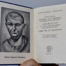 Libros de segunda mano: APOLOGIA CONTRA LOS GENTILES...QUINTO SEPTIMO F. TERTULIANO- AGUILAR- C.CRISOL- Nº31 -1944. Lote 140890494