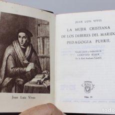 Livros em segunda mão: LA MUJER CRISTIANA...-JUAN LUIS VIVES- AGUILAR-C.CRISOL-Nº59 -1944. Lote 141006981
