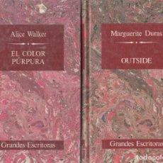 Libros de segunda mano: MARGUERITE DURAS. OUTSIDE. ALICE WALKER. EL COLOR PÚRPURA. COL. GRANDES ESCRITORAS. 2 LIBROS. NUEVOS. Lote 148896406