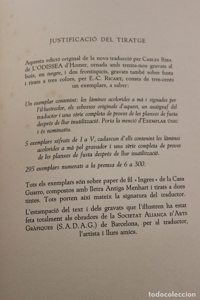 Libros de segunda mano: LA ODISSEA DE HOMER, TRADUCIDA AL CATALÁN POR CARLES RIBA GRABADOS A LA MADERA POR E.C. RICART. 1948 - Foto 15 - 152301842