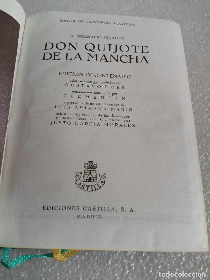 Libros de segunda mano: CERVANTES : DON QUIJOTE DE LA MANCHA (CASTILLA, 1966) EDICION DEL IV CENTENARIO - Foto 12 - 153684666